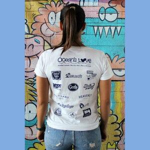 (オーシャンズラブ)OCEAN'S LOVE 【レディース】2018モデル アロハハワイTシャツcolor=ホワイトNPO法人 ボランティア サーフィン おしゃれ