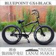 "【BLUEPOINT】""GX4-BeachCruiser-FATBIKE""color:ブラック湘南鵠沼海岸発信26インチビーチクルーザーファットバイク自転車 ファットバイク ビーチクルーザー 極太 ホワイトレタータイヤ"