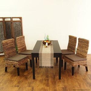【送料無料・翌日出荷】籐家具:バナナリーフ天然木のコンビ美しいダイニングチェアアンティークブラウンC404AT