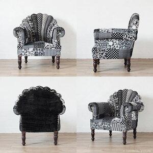 パッチワークソファーピーコックチェアー椅子ベルベットボヘミアンシーシャムチェスターフィールドKAREDLD801BK