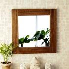 M042SKAアジアン家具 インテリア 安い ミラー 鏡 壁掛け スクエア 正方形 チーク 無垢 木製
