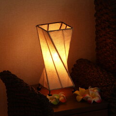 アジアン雑貨 天然木のテーブルライト ツイスト【キャンバス】  照明 アジアンランプ バリ雑貨…