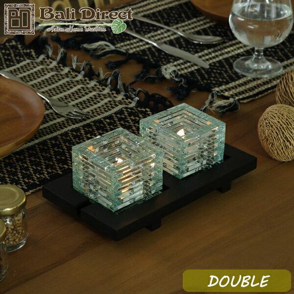 アジアン雑貨 バリ ガラス 2灯用 キャンドルホルダー ダブル リゾート スパ アロマ LEDキャンドル キャンドルスタンド z020202a Bali Direct
