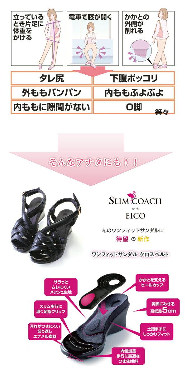スリムコーチ ワンフィットサンダル クロスベルト ブラックM LL有 ワケありセール 正規品  slimcoach sandal  EICO式トレーニング