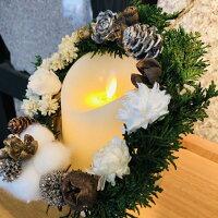 リース&LEDキャンドルのセットインテリアおしゃれクリスマスリース間接照明贈答贈り物クリスマスプレゼントオリジナル白充電式リモコンタイマーUSB明るさ調節自動消灯高さ15cmろうそく