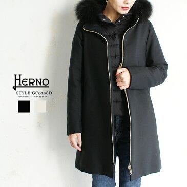 2018-19最新モデル【HERNO】ヘルノ #GC0198D 33600 BLACK ブラック(9300) WHITEホワイト(1100)ダウンコート フォックスファー 取り外し可能 インナーダウン付き きれいめ コート ダウン 軽量 切替 フード付き レディース