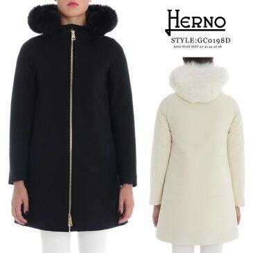 2018-19最新モデル【HERNO】ヘルノ #GC0189D 33600 BLACK ブラック(9300) WHITEホワイト(1100)ダウンコート フォックスファー 取り外し可能 インナーダウン付き きれいめ コート ダウン 軽量 切替 フード付き