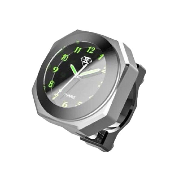 IPX7級防水バイク用時計シルバーオートバイ自転車用アナログ時計夜光クロックカスタムBAIANA-SV