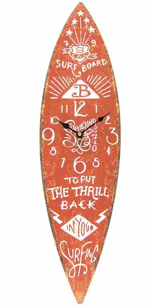 サーフボード ウォールクロック 壁掛け時計「SURF BOARD ブラウン」アロハ・マウイ ハワイ おしゃれ時計 ハワイアン雑貨 サーフ 西海岸風 インテリア アメリカン雑貨