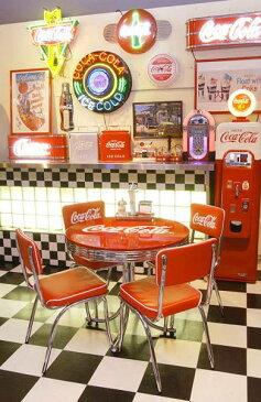 コカ・コーラ ローテーブル&チェアー フルセット(5点セット) アメリカンダイナー 椅子 チェアー カフェ アメリカ雑貨 ダイナー 西海岸風 インテリア アメリカン雑貨