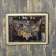 アメリカ看板 I LOVE USA サインプレート ブリキ看板 メタルサイン アメリカ合衆国 アメリカ地図
