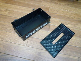 ★ガレージ鉄板柄のティッシュケースムーンアイズ(ブラック)★チェッカープレートティッシュボックスティッシュカバーティッシュペーパー鉄板