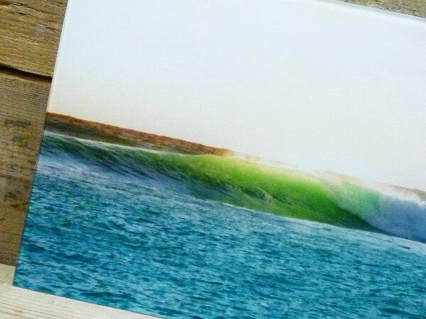 ガラス アート ピクチャー M−G (壁掛け) ウェーブ 海 空 ビーチ 横幅40cm サーフ系 おしゃれ壁掛け サーフィン カリフォルニア 西海岸風 インテリア アメリカン雑貨