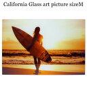 ガラス アート ピクチャー M−K (壁掛け) サンセット サーファー...