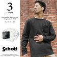 Schott ショット DEER POCKET ONE STAR レザーポケット ワンスター ロングTシャツ 3143092 送料無料 本革 レザー ロンT