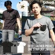 Schottショット別注限定DEERPOCKETONESTARレザーポケットワンスターTシャツ31630303173042送料無料本革レザーロンT2017