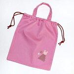 【メール便可】【サイズ変更可】【セミオーダー】体操着入れピンクうさぎ巾着持ち手付きアップリケ