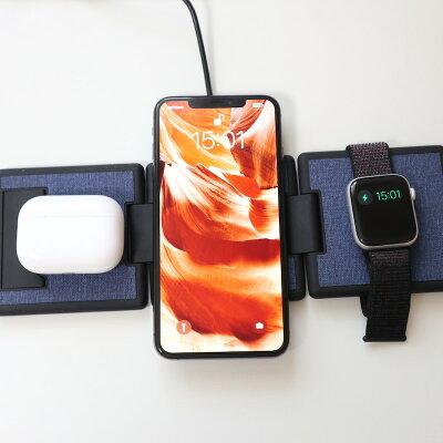 ORIPA オリパ ワイヤレス充電器 iPhone Apple Watch 充電器 Qi 充電器 ワイヤレス 急速 充電 1台で3台充電可能 デスクの上をスマート&おしゃれに プレゼント 送料無料・・・ 画像1