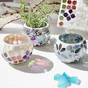 モザイクガラスホルダー ボール型 ガラス レインボー/シェルラベンダー/アクアフラワー あす楽