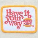 ロゴワッペン Burger King バーガーキング(レクタングル) LGW-012 アイロン アップリケ パッチ アルファベット エンブレム 名前 ミリタリー 車 ディズニー ワッペン
