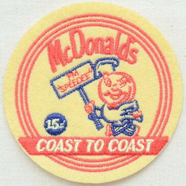 ロゴワッペン McDonald's マクドナルド(コースト/ラウンド) LGW-033 アイロン アップリケ パッチ アルファベット エンブレム 名前 ミリタリー 車 ディズニー ワッペン