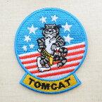 ミリタリーワッペン トムキャット Tomcat アメリカ海軍(ねこ/星条旗) Mサイズ MIW-046 アイロン アップリケ パッチ アルファベット エンブレム 名前 ミリタリー 車 ディズニー ワッペン