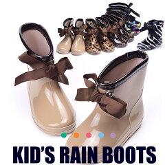 レインブーツ キッズ 長靴 女の子 雨靴 レイングッズ リボン付レインブーツ ながぐつ レインシューズ ゴム靴 雨の日グッズ
