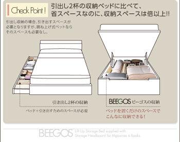 収納ヘッドボード付きガス圧式跳ね上げ収納ベッド【Beegos】ビーゴス・レギュラー、SS【縦開き】薄型ポケットコイルマットレス付()