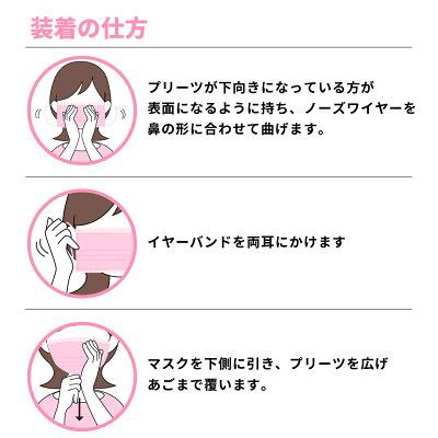 【国内即日発送】マスクピンク10枚入耳が痛くなりにくい不織布3層高品質メール便【レディココLadycoco】
