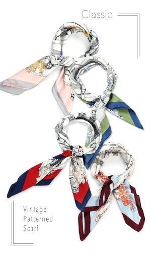 新作【送料無料】大判ヴィンテージ柄スカーフ70cm正方形大きめプリント柄シルキーサテン春夏秋冬一年中使えるシルクのような滑らかな肌触りふわっと軽やかで女性らしい素材感