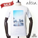 Altea アルテア プリント Tシャツ 半袖 クルーネック ブルー メンズ コットン イタリア製 春夏モデル 国内正規品 13824
