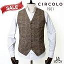 【50%OFF】CIRCOLO 1901 チルコロ コットンピケ ジレ ACU220105 ブラウン Cocco メンズ 春夏モデル 国内正規品 29160