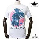 MacchiaJ マッキアジェー コットン プリント Tシャツ TM1280 クルーネック カットソー サーフ ヤシの木 ホワイト 白 メンズ 春夏モデル 国内正規品 9720