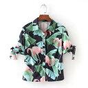 [即納] アロハシャツ フラミンゴ 開襟シャツ 半袖 リボン...