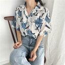 アロハシャツ 幾何学模様 開襟シャツ 半袖 ゆったり レディ...