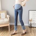 マタニティ パンツ デニム ストレート デニムパンツ ボトムス 妊婦服 大きいサイズ ウエストゴム マタニティウェア シンプル