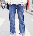 マタニティ パンツ デニム ワイドパンツ デニムパンツ ジーンズ ロールアップ ストレート 大きいサイズ 韓国 マタニティウェア