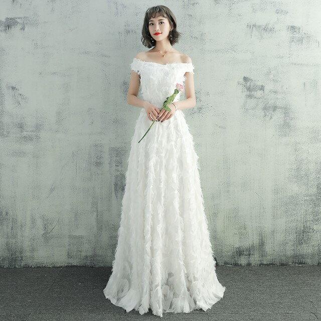 ウエディングドレス 大きいサイズ ウエディングドレス 白 二次会 花嫁 刺繍 レース フェザーモチーフ オフショルダー 小さいサイズ
