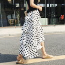 【人気!】ティアード スカート ドット ポルカドット フレア トレンド 体型カバー アシンメトリー マキシ丈 ロング