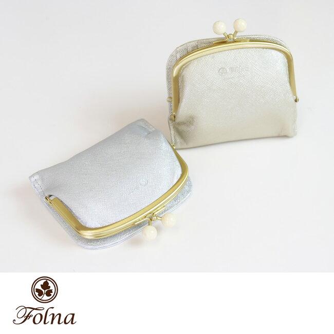 メタリックレザー がま口 二つ折り財布