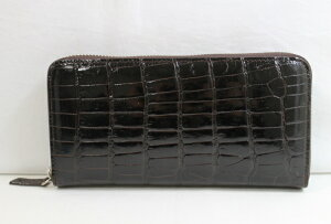 dcc2a71af660 クロコダイル 長財布 レディース メンズ シャイニング クロコダイル財布 ヘンローン社製 ボンベ加工 ラウンドファスナー ニコチン 外側ファスナー ポケット有り
