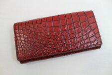 【日本製】【ハンドメイド】クロコダイル長財布かぶせ式目地染め上質素材使用最上級品レッドブラック