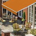 オーニングテント 幅3m×張出2m 橙 オレンジ 白フレーム折り畳み 伸縮 巻き上げ式 雨よけ 日よけテントサンシェード ベランダ ガーデニング オープンテラス紫外線 UVカット 遮熱 断熱 エコハンドル式 簡単収納 _71029