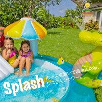 プールワニさん噴水付き2.03m×1.73m×0.89mすべり台おもちゃ付きキッズ楽しい水遊び水浴び自宅お庭夏休み子供目立つインスタ映えかわいいSNS目立つあす楽対応【送料無料】_85397