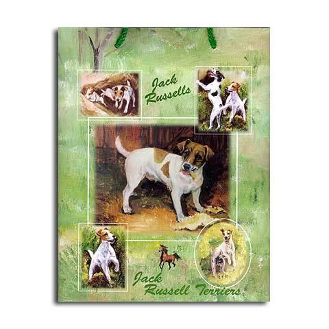 ギフトバッグ 小 ジャックラッセル 世界的に有名な動物画家「ルス・メイステッド」さんデザイン(紙袋 犬グッズ コレクション USA デザイナーブランド おしゃれ かわいい プレゼント 贈り物 包装 バッグ ギフト バック 犬のバック 楽天) 卒業式 プレゼント