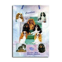 ギフトバッグ 大 キャバリア 世界的に有名な動物画家「ルス・メイステッド」さんデザイン 紙袋 犬グッズ コレクション USA デザイナーブランド ラッピング ラッピングバッグ 手提げ[バルーン&アニマル雑貨 Le Chien]