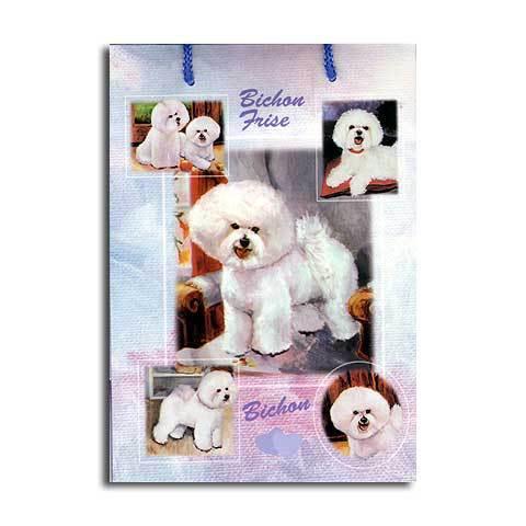 ギフトバッグ 小 ビションフリーゼ 世界的に有名な動物画家「ルス・メイステッド」さんデザイン(紙袋 犬グッズ コレクション USA デザイナーブランド おしゃれ かわいい プレゼント 贈り物 包装 バッグ ギフト バック 犬のバック 楽天) お年賀 プレゼント ギフト