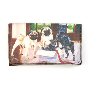 表情豊かな楽しい三つ折りウォレットですパグ 三つ折りウォレット(財布) 世界的に有名な動物画...