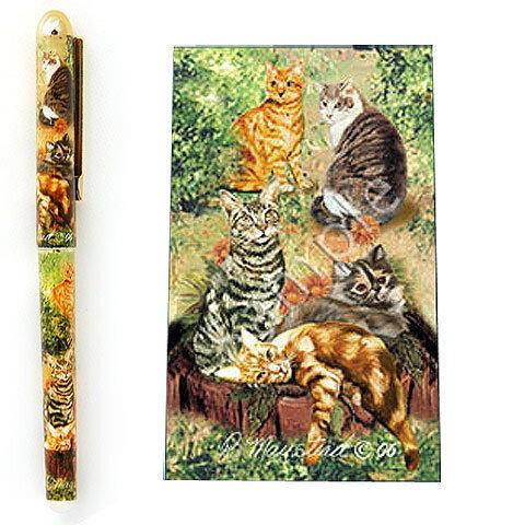 インクペン ボールペン【猫2】 世界的に有名な動物画家「ルス・メイステッド」さんデザイン ネコ 猫 グッズ 文房具 デザイナーブランド 入学祝い 卒業祝い プレゼント ギフト お返し ルシアン メール便