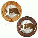 【ボーダーコリー グッズ】美しい木製のムーブメントに樹脂製のフィギュアを合わせた壁掛け時...